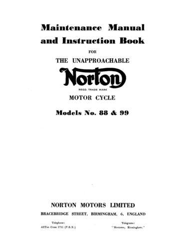 0825 1956 Norton 88 & 99 dominator maintenance manual Motorcycle ...
