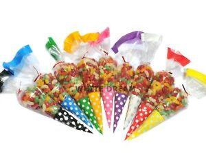 """25 /""""White/"""" Quality Cone Cellophane SweetParty Gift Bags Cello Favour 18x37cm"""