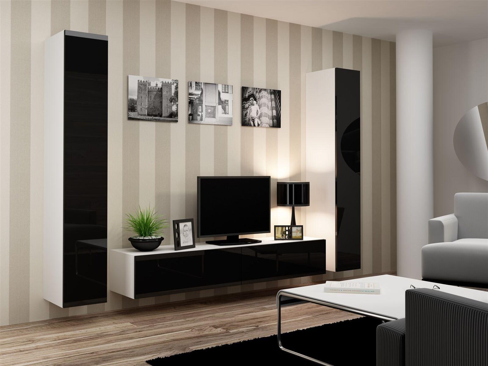 Mediawand wohnwand 3 3 3 pces-sentic 16-Blanc/Noir Brillant 3bf258