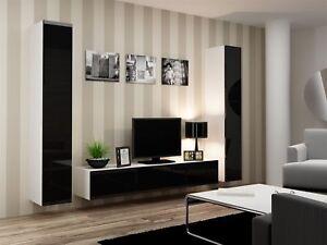 mur-de-medias-Rangement-Mural-3-pieces-Sentic-16-Blanc-noir-laque