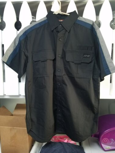 Harley-Davidson Men/'s Short Sleeve Shirt Black mechanic Vented Button up MEDIUM