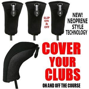 NEW-THICK-NEOPRENE-BLACK-HYBRID-2-3-4-COMPLETE-GOLF-CLUB-FULL-SET-HEAD-COVERS-NR