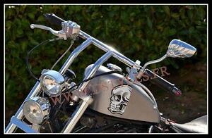 PAIRE-de-retroviseur-Chrome-Mains-de-Squelette-pour-moto-custom-trike-retro