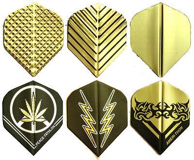 Dart Flights- 6 sets - Asst Gold Metallic Std Styles