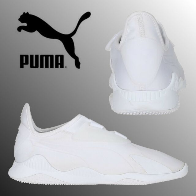 PUMA Evolution Mostro Mens Boys Triple White Sneakers Retro Sports Trainers 4eb3dd433