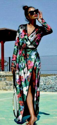 Nuevo Con Etiquetas Zara Vestido Largo ABRIGO De Terciopelo Estampado Floral Caftán KIMONO S RRP £ 69.99