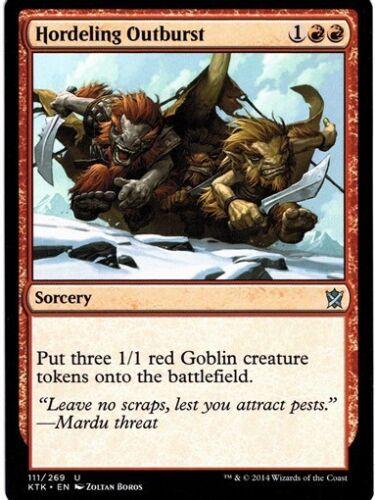 MTG 4x HORDELING OUTBURST Khans of Tarkir *Three Goblin Token*
