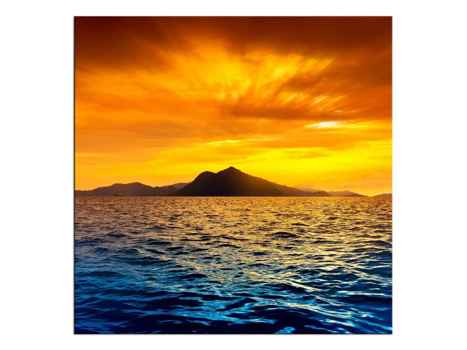 Abendrot Insel Wandbild A06144 Canvas Leinwandbild quadratisch auf Keilrahmen