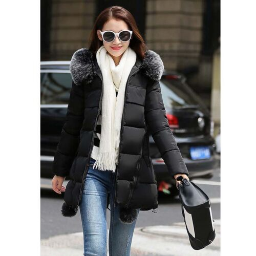 Winter Womens Warm Hooded Down Long Jacket Thicken Cotton Padded Coat Collar