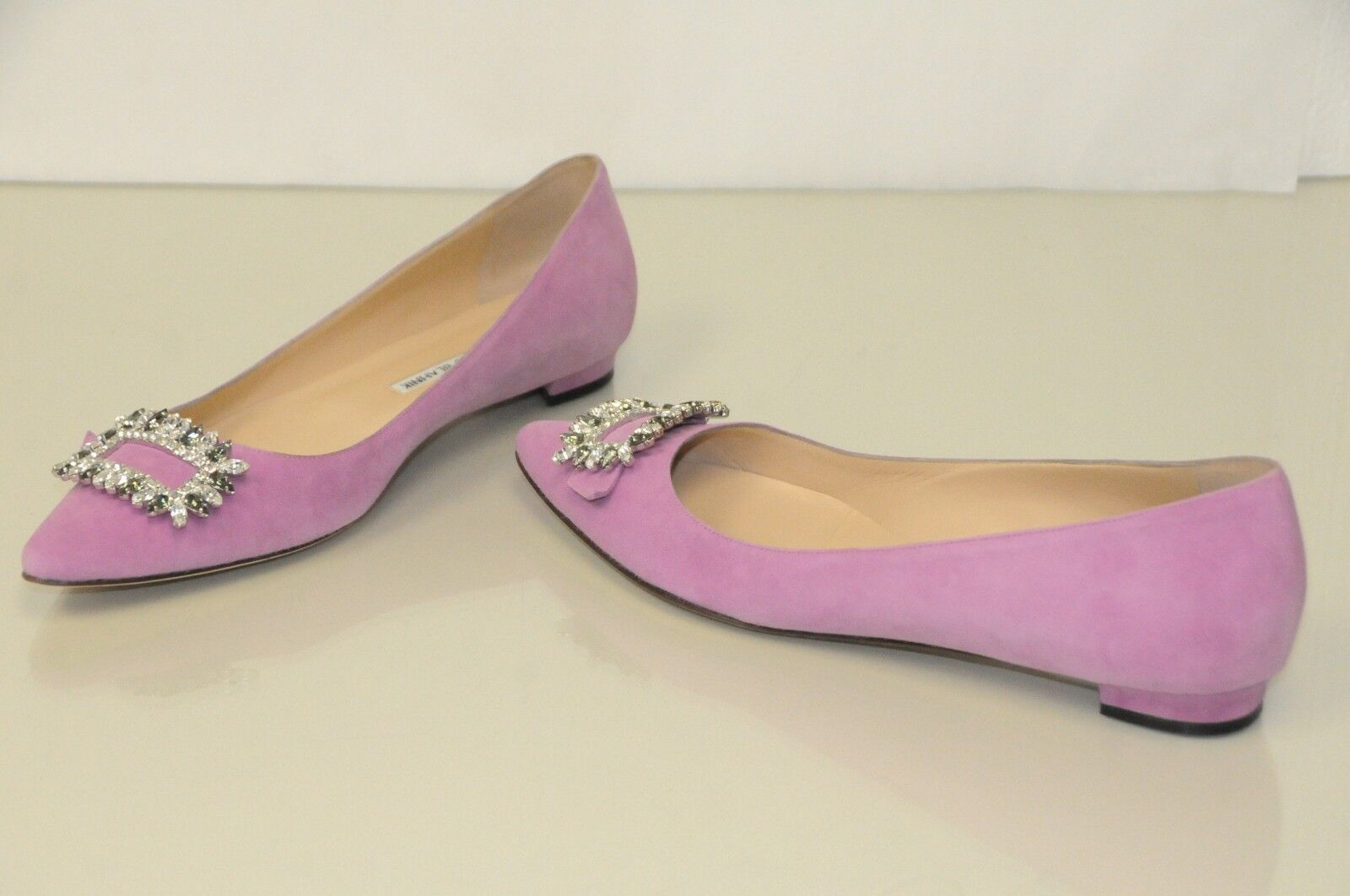 $1095 NEW MANOLO BLAHNIK TITTOPA Flats BB JEWELED Purple Suede Flats TITTOPA Ballet SHOES 41 e39db6
