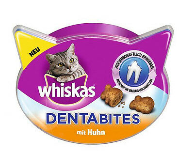 WHISKAS DENTABITS Dentabites with Chicken Cat Treats for Healthy Teeth 50g 1.8oz