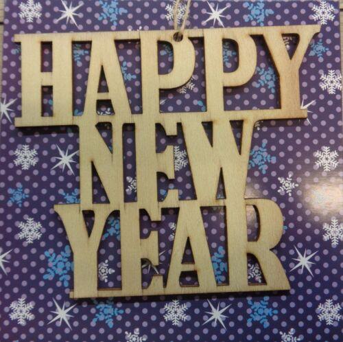 NOUVEAU Happy New Year CHRISTMAS HOLZANHÄNGER enveloppe Carte Noël Neuf dans sa boîte