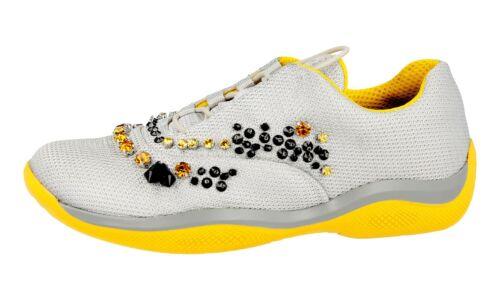 37 strass Sneaker 1e784g Prada New argento 37 con Nylon Luxury Shoes 5 T0Szw5FTq