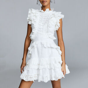 2019New-Womens-Luxury-Cotton-Ruffle-White-High-Neck-Beauty-Lace-Dress-Sleeveless