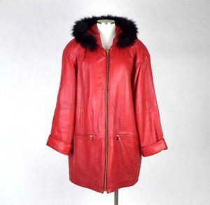 85134ea76 Details about Vtg 90s Lipstick Red Leather Fox Fur Hood Swing Coat Oversize  Jacket Womens L