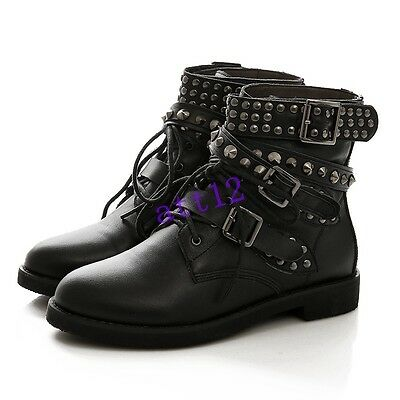Punk Womens Rivet Studded Combat  Buckle Strap Lace Up Low Heels Ankle Boot Size