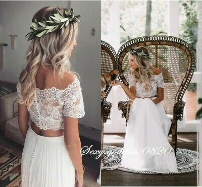 Bohemian Off Shoulder Lace Top Two Piece Beach Wedding Dresses Chiffon Skirt Ebay