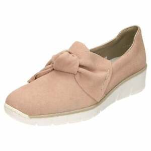 b2294e0c469 Details about Rieker Suede Leather Loafer Shoes 537Q4-31 Low Wedge Pink  Slip On Flat Pumps