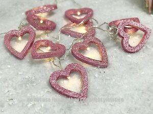 PINK GLITTER HEART LED WARM WHITE STRING FAIRY LIGHTS BEDROOM - Pink fairy lights for bedroom