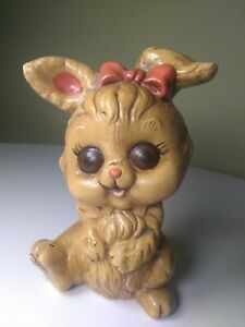 "Vintage Ceramic Girl  Bunny, Easter bunny with Bow Hand Painted 5 1/2"" Tall 3"" W"