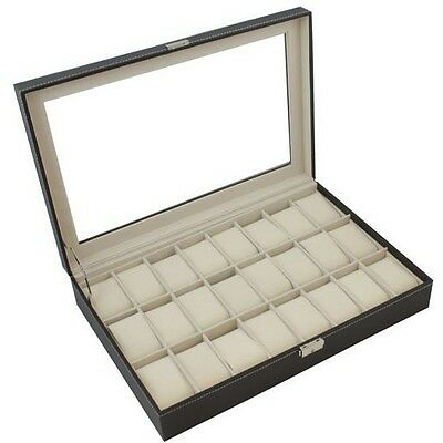 Black Leather 24 Mens Watch Box Large Glass Top Display Jewelry Case Organizer