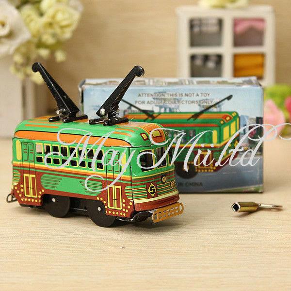 Vintage Clockwork Wind Up Metal Double Decker Bus Tinplate Toys Collectable S