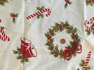 image is loading vintage christmas tablecloth fabric homemade candy cane wreath
