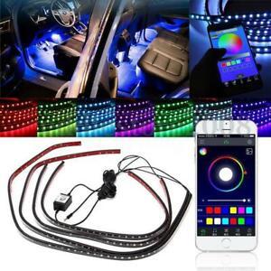4x-LED-RGB-APP-Under-Car-Tube-Glow-Underglow-Underbody-Neon-Strip-Lights-Kit