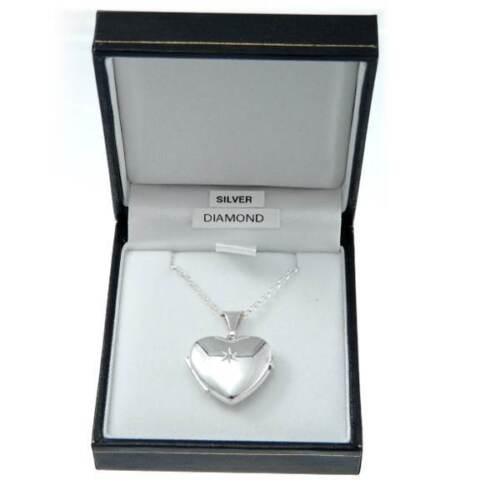 Sterling Silber Diamant Star Herz Medaillon Anhänger Mit 45.7cm Kette