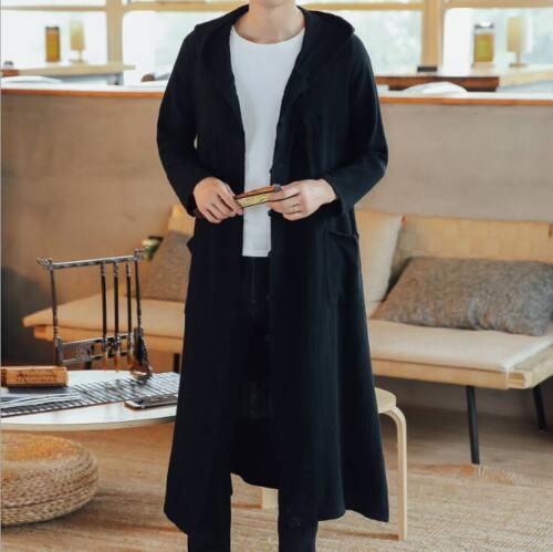 S-5XL Men Hooded Long Coats Trench Linen Cotton Outwear Jacket Windbreaker Ths01
