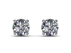 Diamant Boucles D'oreille En Or D Vvs2 Ronde Coupe 3/4 Carat Goujon 14k Or Blanc-afficher Le Titre D'origine Et Aide à La Digestion
