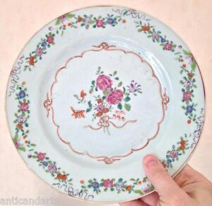 Belle-assiette-porcelaine-Compagnie-des-indes-Chine-Art-d-039-asie-famille-rose