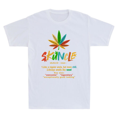 Weed Skuncle Definition Father Uncle Gift Tee Men/'s Cotton Short Sleeve T-Shirt