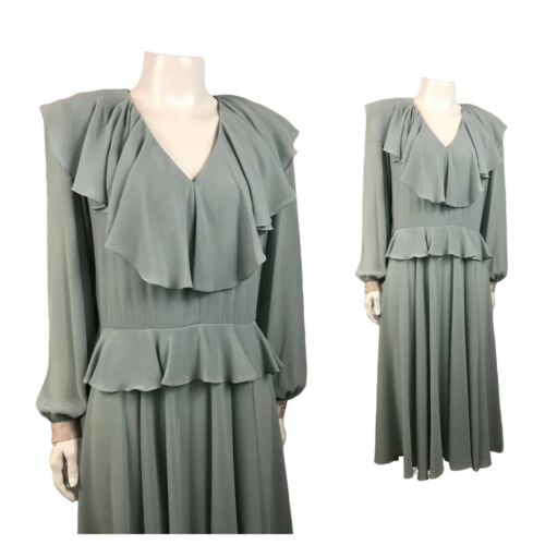 1980s Ursula of Switzerland Dress / Green Designer