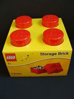 Lego Red Storage Brick Large Tub Project Case 4 Knobs Stud Organizer Stacks