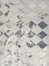 """DIAMOND CHECKERED SEQUINS MESH FABRIC - White/Silver - 54"""" WIDE SOLD BY THE YARD"""