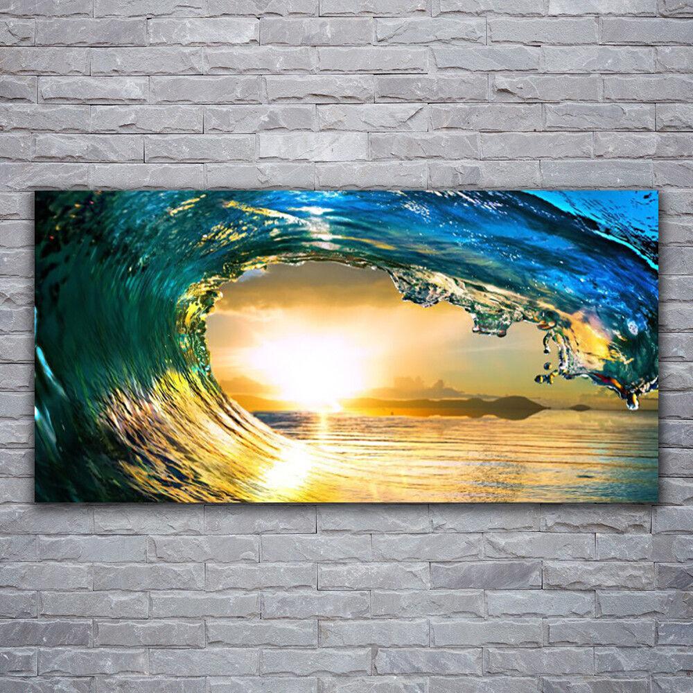 Impression sur verre Wall Art 120x60 Photo Image vague mer coucher de soleil Nature