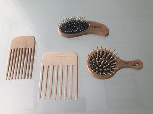KIT-Spazzola-Pettine-Legno-Dentate-Massaggio-Anti-statico-Cura-Capelli-specchio