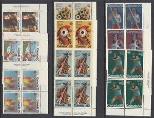 Canada: #664 - 66, 681 - 83, 684 - 86, Olympic Sports Plate Block Set MNH CV$65+