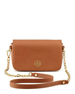 79eb149373f57 NWT IN PLASTIC Tory Burch Robinson Chain Mini Bag CrossBody BROWN ...