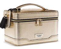 Victoria's Secret Hard Train Case Makeup Bag Metallic Shiny Gold Limited Edition