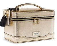 Victoria's Secret Hard Train Case Makeup Bag Metallic Shiny Gold Limited Edition
