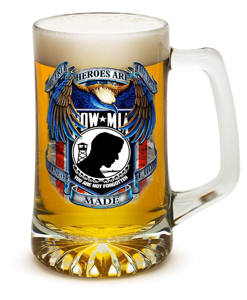 POW MIA- NEVER FORGET-  25 OZ  LARGE TANKARD BEER GLASS