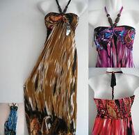 S/M/L/XL Women Beach Floral Maxi Long HALTER beads Sundress evening party dress