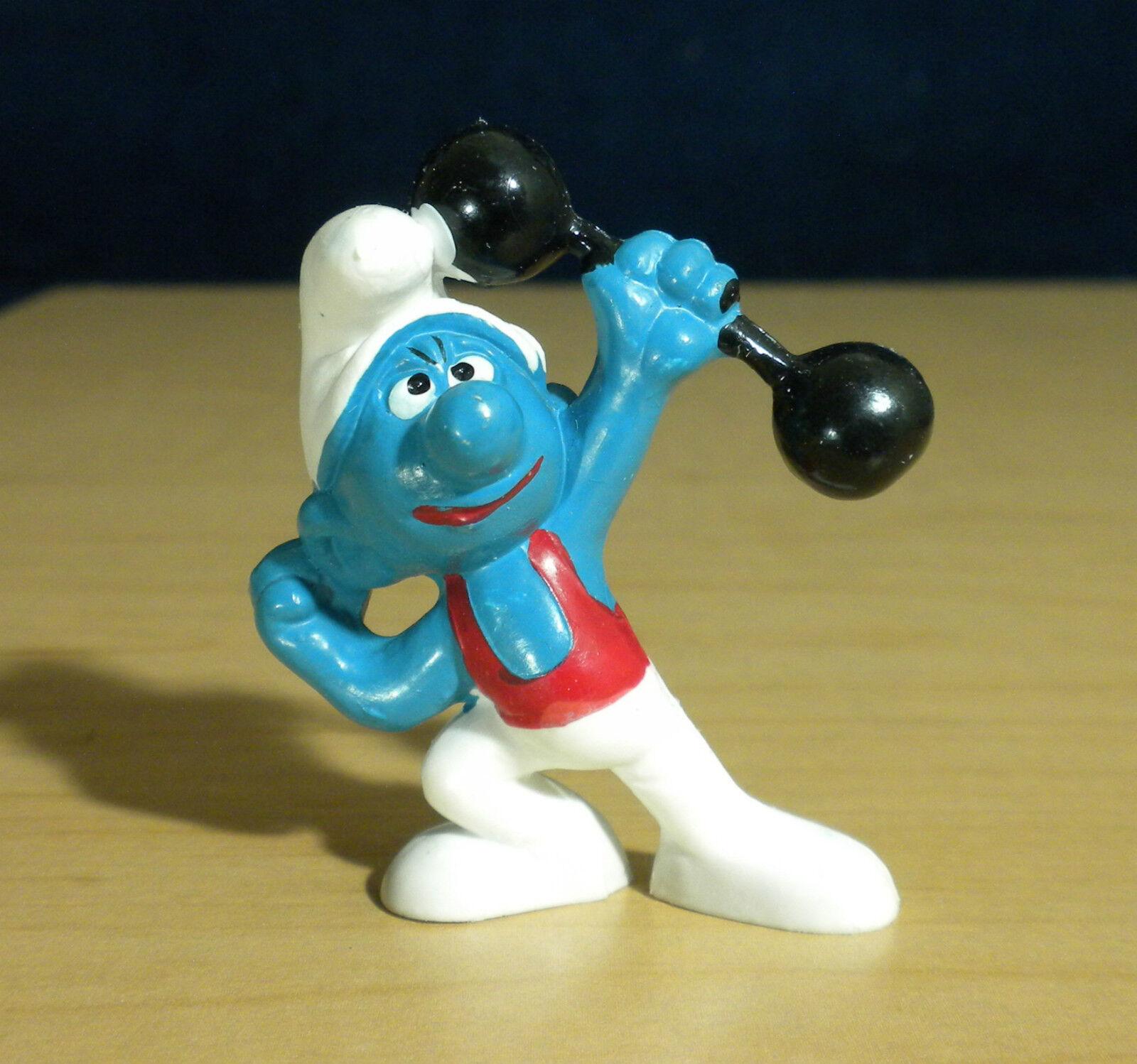 Smurfar 20020 Barbell Smurf, kraftig viktlyftning Gymnasta Figur årgång leksak PVC