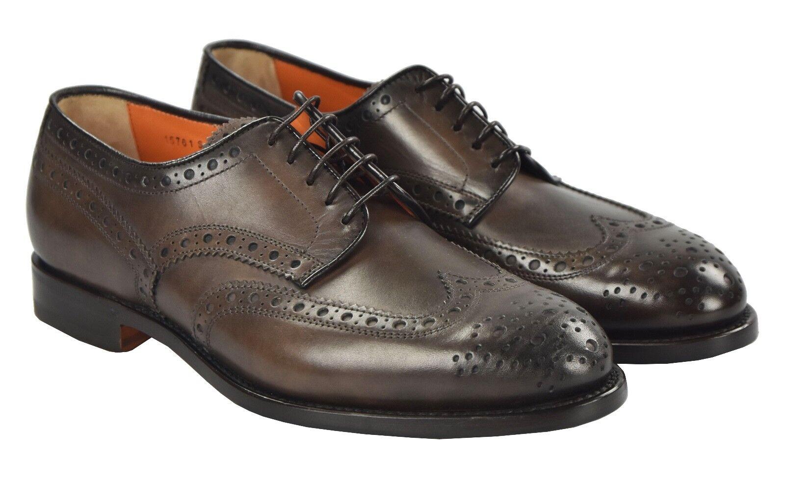Nuevos Zapatos SANTONI 100% Cuero Tamaño 8.5 nos Marrón SAN21