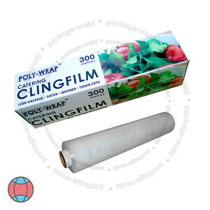 New-Cling-Film-With-Cutter-Roll-Kitchen-Catering-Food-Butcher-Wrap-300mm-x-300m