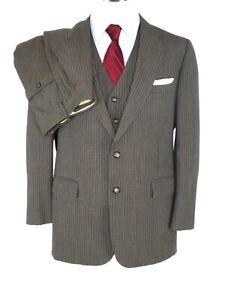Vintage Cricketeer Herren 3-pc Anzug US 42l* braun Nadelstreifen 2-btn Flach Vorne Flach