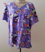 Disney Mickey Mouse Halloween Scrub Top Purple Size 2X Mummy Candy Corn EUC