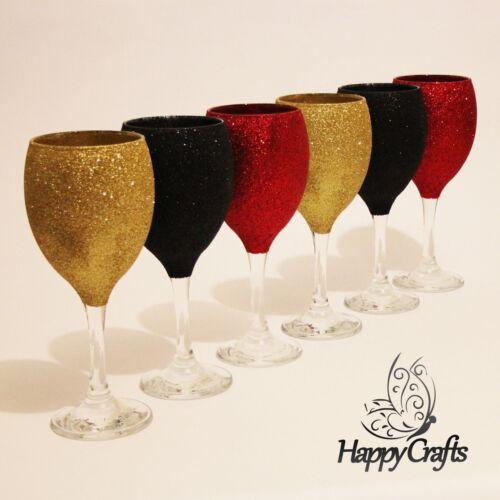 Glitter top verres à vin ensemble de 6 noir rouge /& or